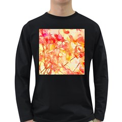 Monotype Art Pattern Leaves Colored Autumn Long Sleeve Dark T Shirts