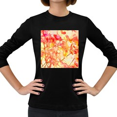 Monotype Art Pattern Leaves Colored Autumn Women s Long Sleeve Dark T Shirts