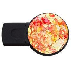 Monotype Art Pattern Leaves Colored Autumn Usb Flash Drive Round (4 Gb)