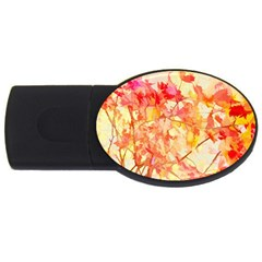 Monotype Art Pattern Leaves Colored Autumn Usb Flash Drive Oval (4 Gb)