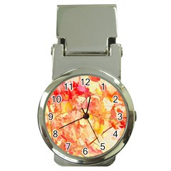Monotype Art Pattern Leaves Colored Autumn Money Clip Watches