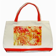 Monotype Art Pattern Leaves Colored Autumn Classic Tote Bag (red)