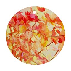 Monotype Art Pattern Leaves Colored Autumn Round Ornament (two Sides)