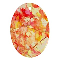 Monotype Art Pattern Leaves Colored Autumn Oval Ornament (two Sides)