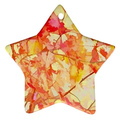 Monotype Art Pattern Leaves Colored Autumn Star Ornament (two Sides)