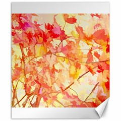 Monotype Art Pattern Leaves Colored Autumn Canvas 8  X 10