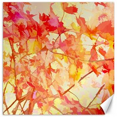Monotype Art Pattern Leaves Colored Autumn Canvas 12  X 12