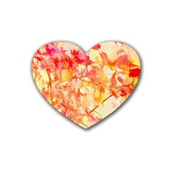 Monotype Art Pattern Leaves Colored Autumn Rubber Coaster (heart)