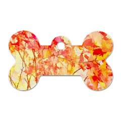 Monotype Art Pattern Leaves Colored Autumn Dog Tag Bone (two Sides)