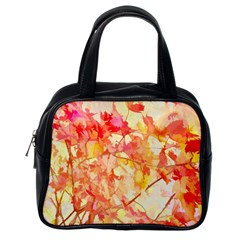 Monotype Art Pattern Leaves Colored Autumn Classic Handbags (one Side)