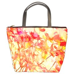 Monotype Art Pattern Leaves Colored Autumn Bucket Bags