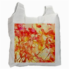 Monotype Art Pattern Leaves Colored Autumn Recycle Bag (two Side)