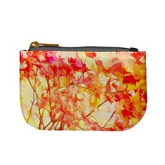 Monotype Art Pattern Leaves Colored Autumn Mini Coin Purses