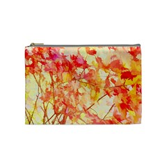 Monotype Art Pattern Leaves Colored Autumn Cosmetic Bag (medium)