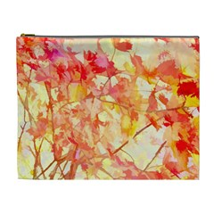 Monotype Art Pattern Leaves Colored Autumn Cosmetic Bag (xl)
