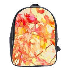 Monotype Art Pattern Leaves Colored Autumn School Bags(Large)