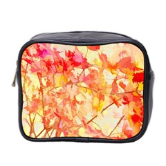 Monotype Art Pattern Leaves Colored Autumn Mini Toiletries Bag 2 Side