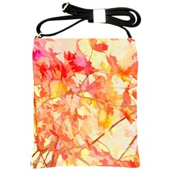 Monotype Art Pattern Leaves Colored Autumn Shoulder Sling Bags