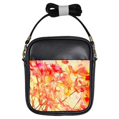 Monotype Art Pattern Leaves Colored Autumn Girls Sling Bags