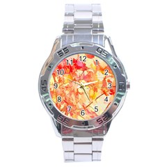 Monotype Art Pattern Leaves Colored Autumn Stainless Steel Analogue Watch