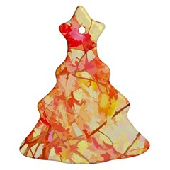 Monotype Art Pattern Leaves Colored Autumn Christmas Tree Ornament (2 Sides)