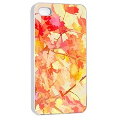 Monotype Art Pattern Leaves Colored Autumn Apple Iphone 4/4s Seamless Case (white)