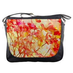 Monotype Art Pattern Leaves Colored Autumn Messenger Bags