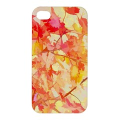 Monotype Art Pattern Leaves Colored Autumn Apple Iphone 4/4s Premium Hardshell Case