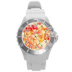 Monotype Art Pattern Leaves Colored Autumn Round Plastic Sport Watch (l)