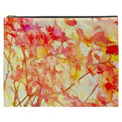 Monotype Art Pattern Leaves Colored Autumn Cosmetic Bag (xxxl)