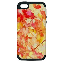 Monotype Art Pattern Leaves Colored Autumn Apple Iphone 5 Hardshell Case (pc+silicone)