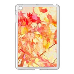Monotype Art Pattern Leaves Colored Autumn Apple Ipad Mini Case (white)