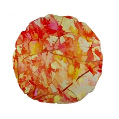 Monotype Art Pattern Leaves Colored Autumn Standard 15  Premium Round Cushions