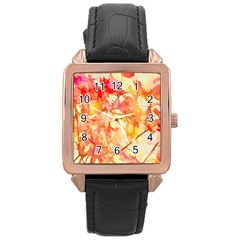 Monotype Art Pattern Leaves Colored Autumn Rose Gold Leather Watch