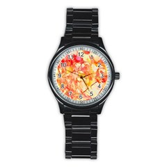 Monotype Art Pattern Leaves Colored Autumn Stainless Steel Round Watch