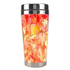 Monotype Art Pattern Leaves Colored Autumn Stainless Steel Travel Tumblers