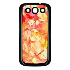 Monotype Art Pattern Leaves Colored Autumn Samsung Galaxy S3 Back Case (black)