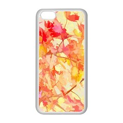 Monotype Art Pattern Leaves Colored Autumn Apple Iphone 5c Seamless Case (white)