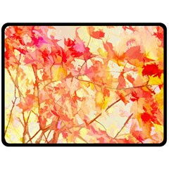 Monotype Art Pattern Leaves Colored Autumn Double Sided Fleece Blanket (large)