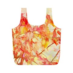 Monotype Art Pattern Leaves Colored Autumn Full Print Recycle Bags (m)