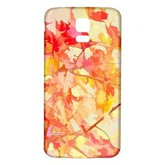 Monotype Art Pattern Leaves Colored Autumn Samsung Galaxy S5 Back Case (white)