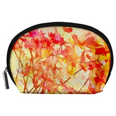 Monotype Art Pattern Leaves Colored Autumn Accessory Pouches (large)