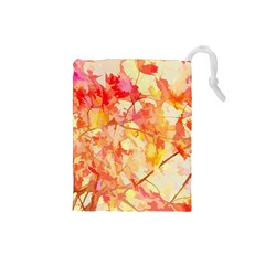 Monotype Art Pattern Leaves Colored Autumn Drawstring Pouches (small)