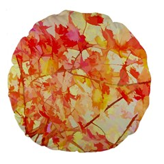 Monotype Art Pattern Leaves Colored Autumn Large 18  Premium Flano Round Cushions