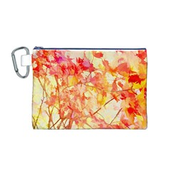 Monotype Art Pattern Leaves Colored Autumn Canvas Cosmetic Bag (m)