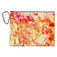Monotype Art Pattern Leaves Colored Autumn Canvas Cosmetic Bag (xxl)