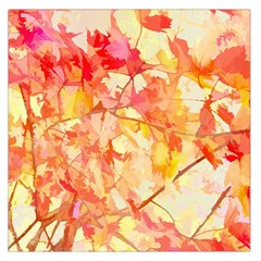 Monotype Art Pattern Leaves Colored Autumn Large Satin Scarf (square)