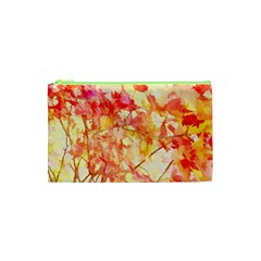 Monotype Art Pattern Leaves Colored Autumn Cosmetic Bag (xs)