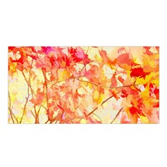 Monotype Art Pattern Leaves Colored Autumn Satin Shawl