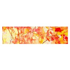 Monotype Art Pattern Leaves Colored Autumn Satin Scarf (oblong)